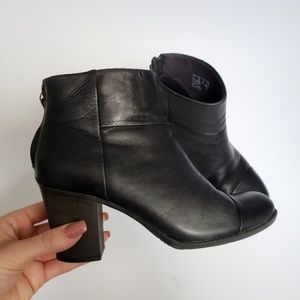 Clarks Leather Ankle Booties with Block Heel